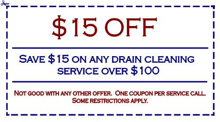 Save $15 on any drain cleaning service over $100.  Not valid with any other offer.  One coupon per service call.  Some restrictions apply.